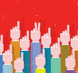 Businessman's hand making victory sign standing out from the crowd of raised hands