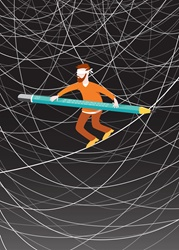 Blindfolded man walking tightrope balancing with pencil among lots of tangled lines