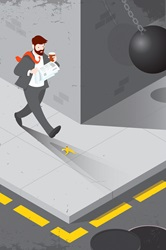 Distracted businessman unaware of hazards in path