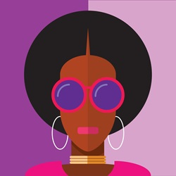 Portrait of fashionable woman with afro hair, sunglasses and hoop earrings
