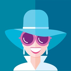 Portrait of fashionable woman wearing blue hat and sunglasses