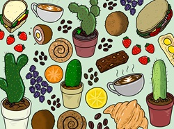 Food and cacti pattern