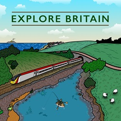 Explore Britain placard with landscape