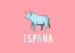 Bull and Espana text on pink background
