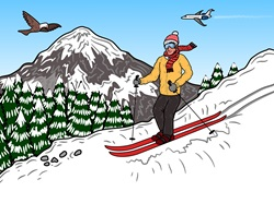 Man skiing in mountain landscape