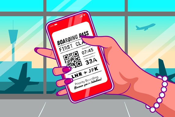 Hand of woman holding smart phone with boarding pass at airport