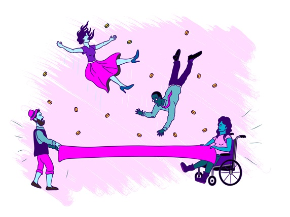 Woman on wheelchair and man holding textile to catch man and woman falling down