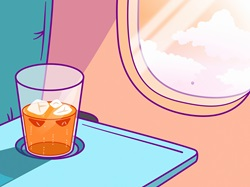Close up of drink on tray beside aeroplane window