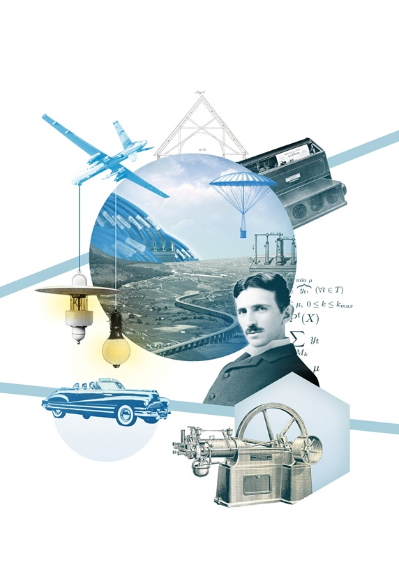 Nikola Tesla surrounded with inventions
