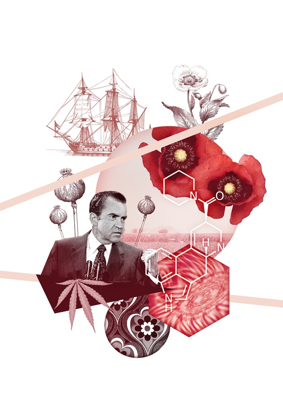 Richard Nixon surrounded with War of Drugs symbols