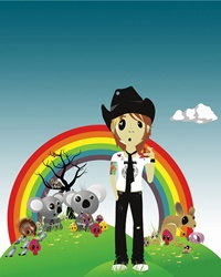 Man in cowboy hat with rainbow and animals