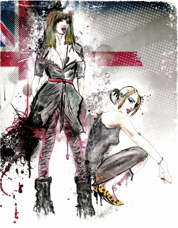 Portrait of fashion models with British flag in background