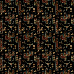 Pattern with cactuses and animal skulls on black background