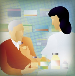 Doctor prescribing medicine for elderly patient