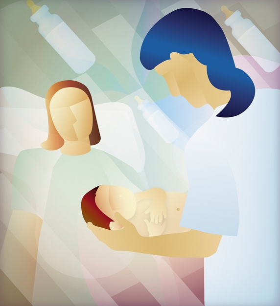 Midwife handing newborn baby to mother