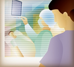 Woman looking through window at patient in hospital isolation unit while nurse adjusts monitoring equipment