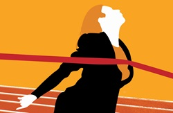 Businesswoman reaching finishing line tape on athletics track