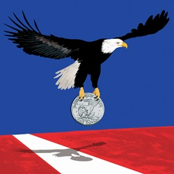 American eagle carrying dollar coin over Stars and Stripes flag