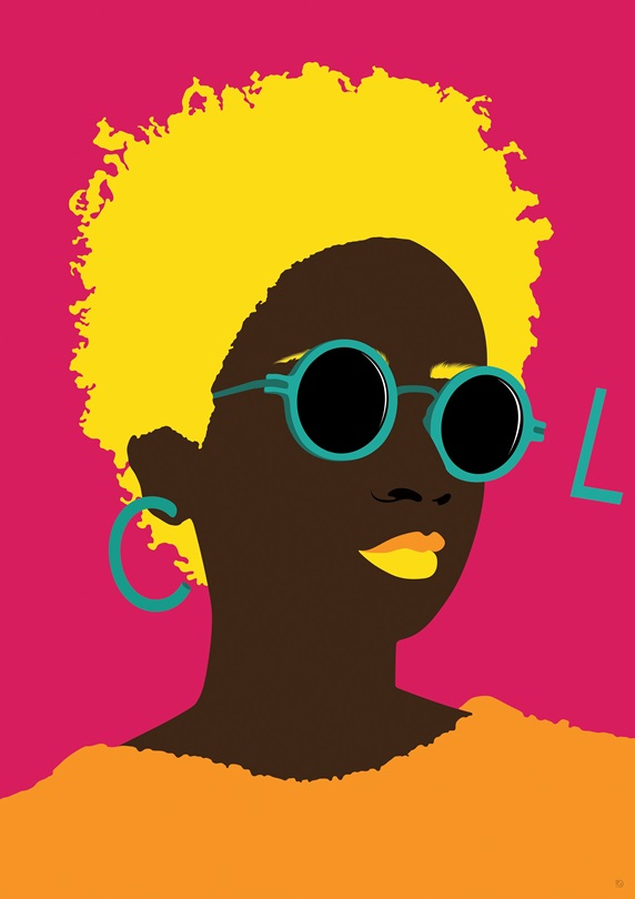 Young woman wearing sunglasses spelling word COOL