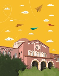 Paper planes flying above large public building