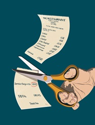 Hand cutting restaurant bill with scissors