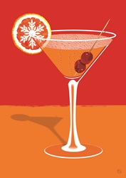 Cocktail in Martini glass with slice of orange with snowflake pattern