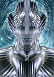 Futuristic female alien android