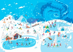 Lots of people enjoying winter activities at ski resort