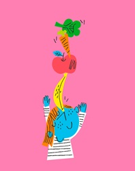 Happy child balancing fresh fruit and vegetables