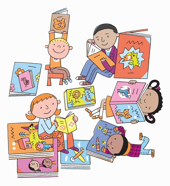 Small children enjoying reading picture books
