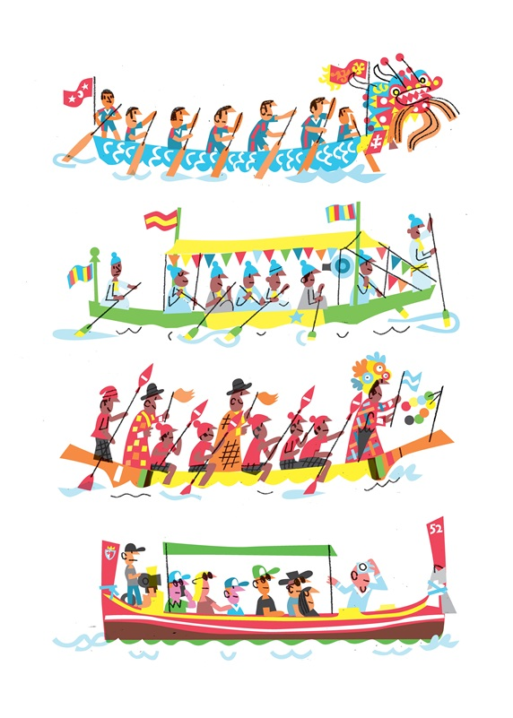 People traveling in different traditional boats