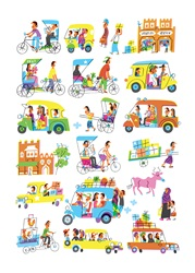 People traveling in different land vehicles in India