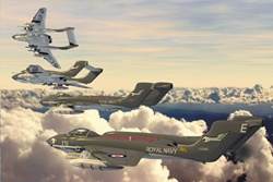Military airplanes in sky