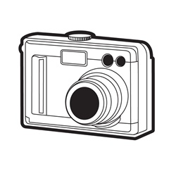 Camera on white background