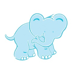 Smiling elephant on white background