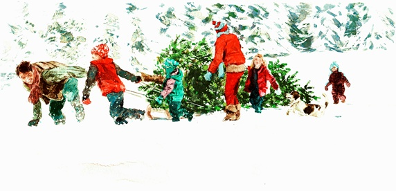 Family pulling Christmas tree through the snow