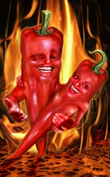 Two hot red chili peppers as happy couple