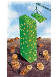 Stack of money in desert