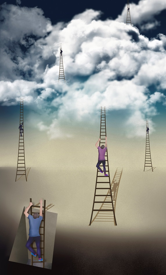 Men climbing ladders into the sky
