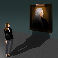 Woman looking at portrait of herself in old age