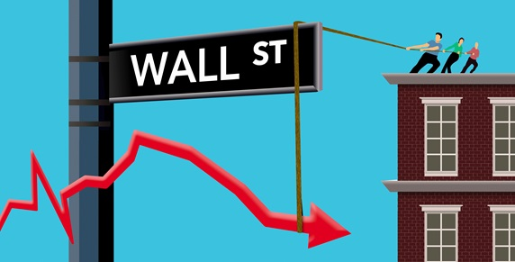 Business people struggling to raise falling graph over Wall Street sign