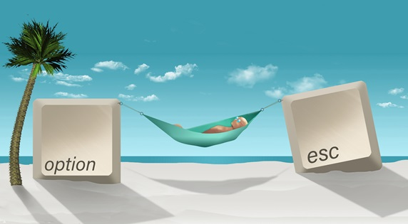 Man lying in hammock between option and escape computer keys on beach