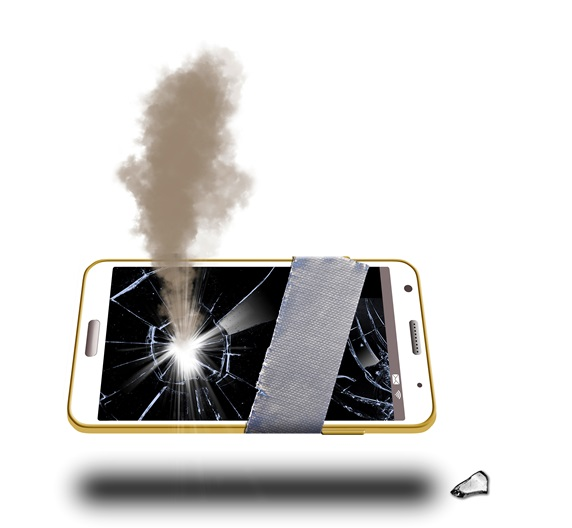 Damaged, dropped, cell phone with broken glass and smoke wrapped with duct tape