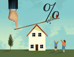 Mortgage banker's finger pushes down on one end of teeter totter sending other end with percentage symbol up higher
