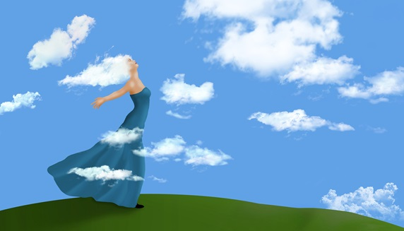 Woman with cloud hair and blue dress