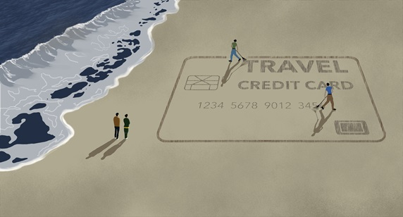 Men raking to scratch out image of travel credit card on beach at ocean