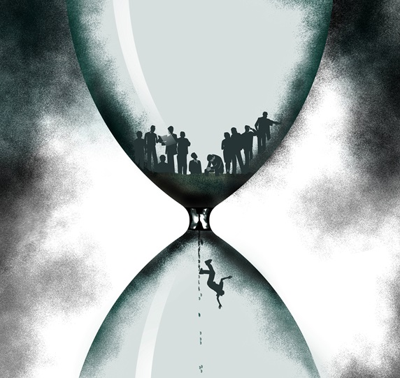 People in hourglass