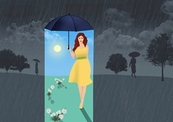 Woman with bright weather under umbrella on rainy day