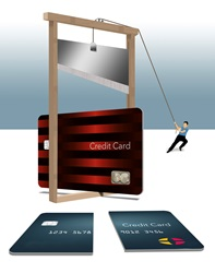 Man cutting credit card with guillotine