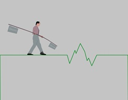 Man balancing with pole on line graph